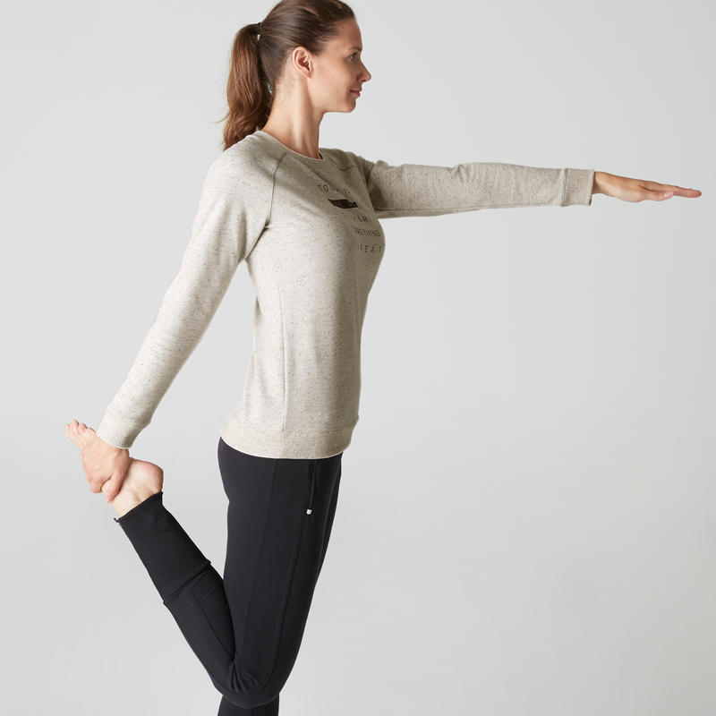 500 Women's Gym Stretching Sweatshirt - Mottled Beige
