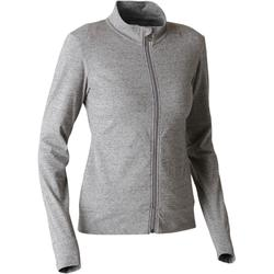 100 Women's Pilates Gentle Gym Jacket - Mottled Grey