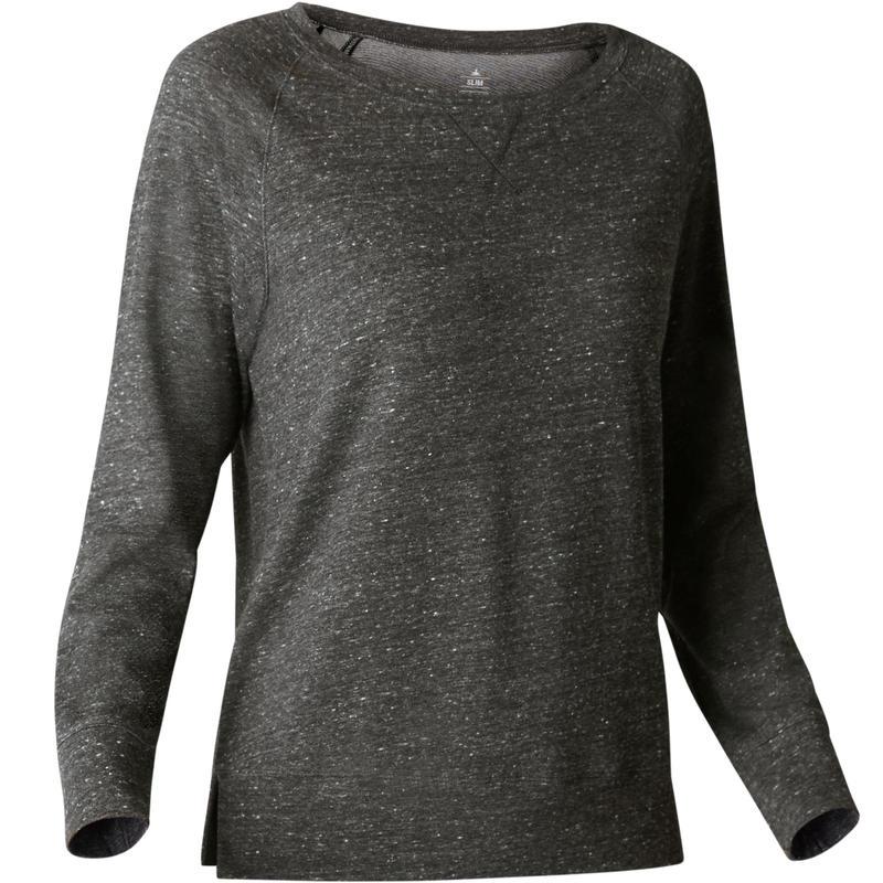 d632efcf46a7 500 Women's Long-Sleeved Pilates & Gentle Gym T-Shirt - Dark Grey ...