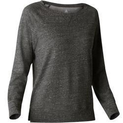 女款健身長袖T恤500 - 黑色印花