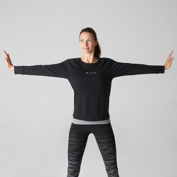 T-shirt 500 lange mouwen pilates en lichte gym dames zwart print