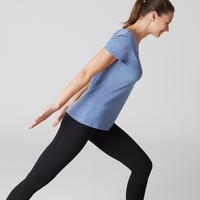 Playera 500 regular para pilates y gimnasia suave. Mujer. Azul oscuro jaspeado