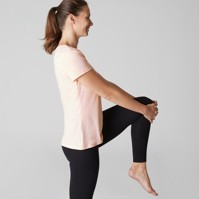 T-shirt 500 regular fit pilates en lichte gym dames gemêleerd lichtroze