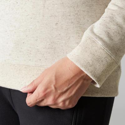 500 Women's Gym Stretching Sweatshirt - Mottled Beige