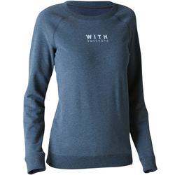 Damessweatshirt 100 voor gym en pilates, gemêleerd lichtgrijs met opdruk