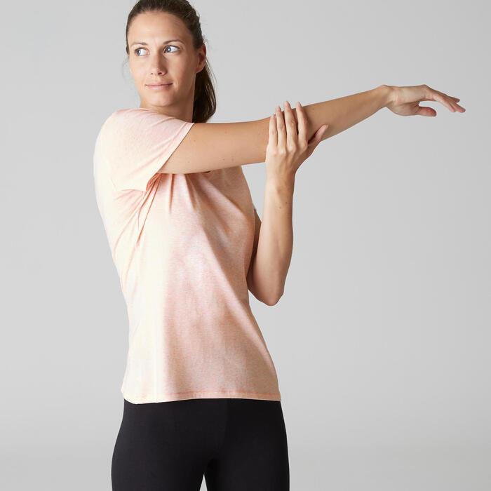 T-Shirt Regular 500 Gym & Pilates Damen rosa meliert