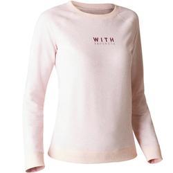 100 Women's Gym & Pilates Sweatshirt - Light Mottled Grey Print