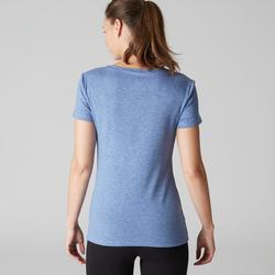 T-shirt 500 regular fit pilates en lichte gym dames gemêleerd donkerblauw