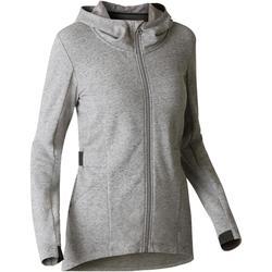 Veste longue 500 capuche Gym Stretching femme gris