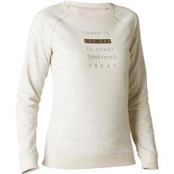 Damessweater 500 voor gym en stretching gemêleerd beige