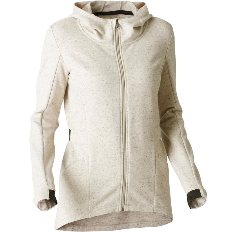 500 Women's Long Hooded Gym Stretching Jacket - Beige