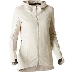 Veste longue 500 capuche Gym Stretching femme beige