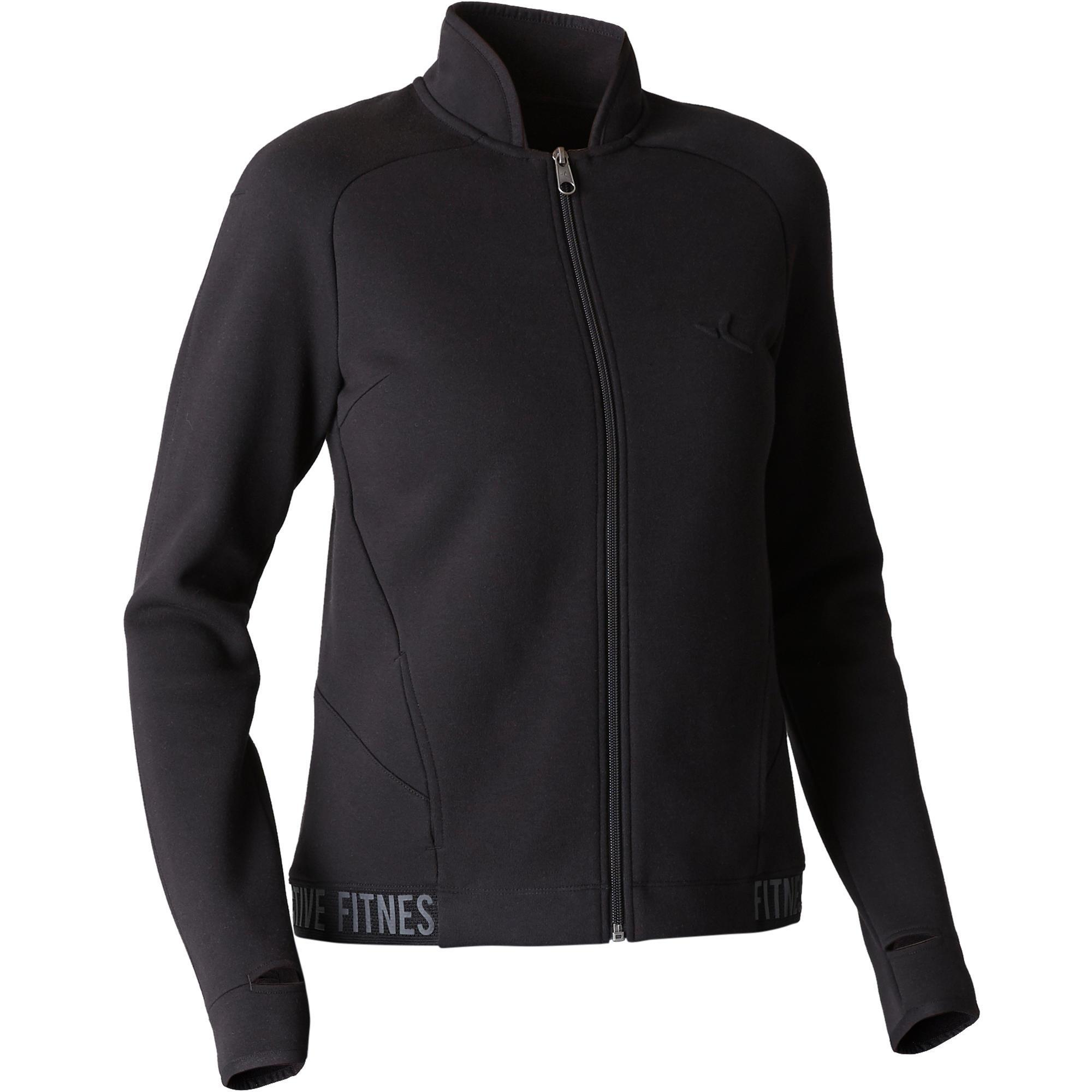 Trainingsjacke 900 Gym Stretching Damen schwarz | Sportbekleidung > Sportjacken > Trainingsjacken | Domyos
