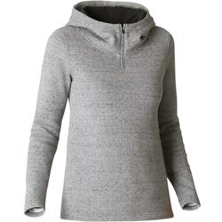 500 Women's Hooded Gym Stretching Sweatshirt - Grey