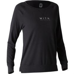 500 Women's Gym & Pilates Long-Sleeved T-Shirt - Black Print