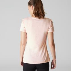 T-shirt 500 regular Pilates Gym douce femme rose clair