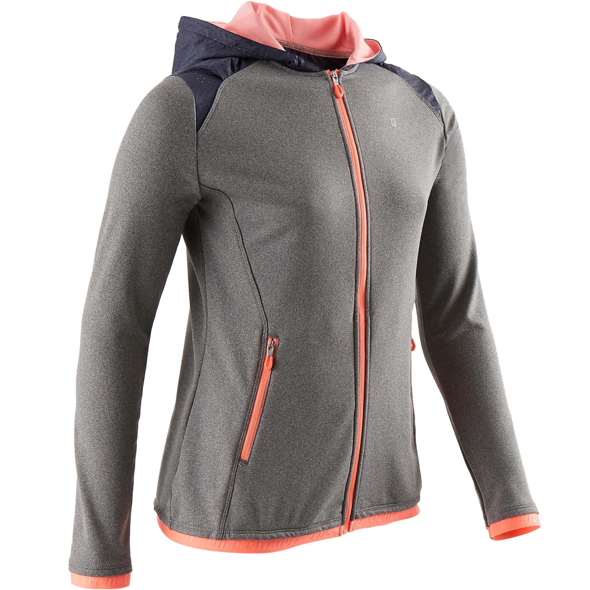 Domyos Gym hoodie S900 voor meisjes grijs