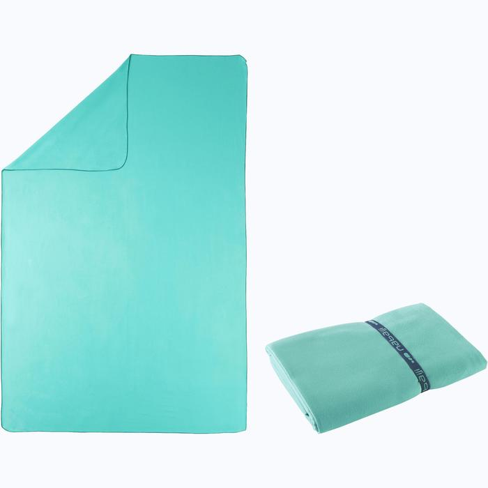 Supercompacte microvezelhanddoek laguneblauw maat XL 110 x 175 cm