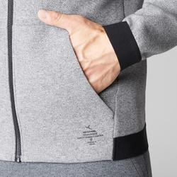 Chaqueta 560 capucha Pilates y Gimnasia suave hombre gris claro jaspeado