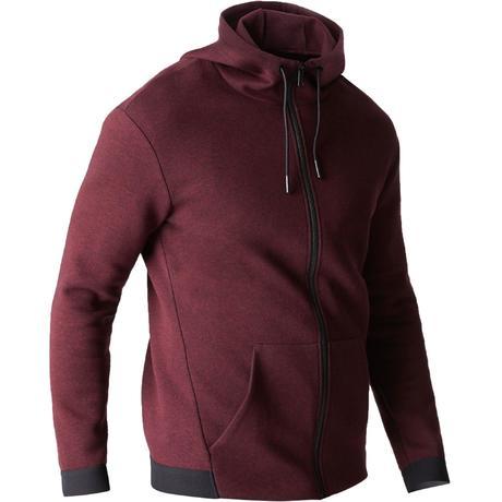 953e38148225 560 Hooded Gentle Gym & Pilates Jacket - Burgundy   Domyos by Decathlon