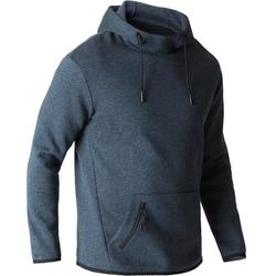 Sweat 560 capuche Gym Stretching homme gris bleu