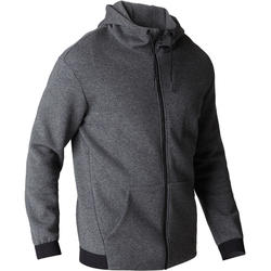 560 Hooded Gentle Gym & Pilates Sweatshirt - Mottled Dark Grey