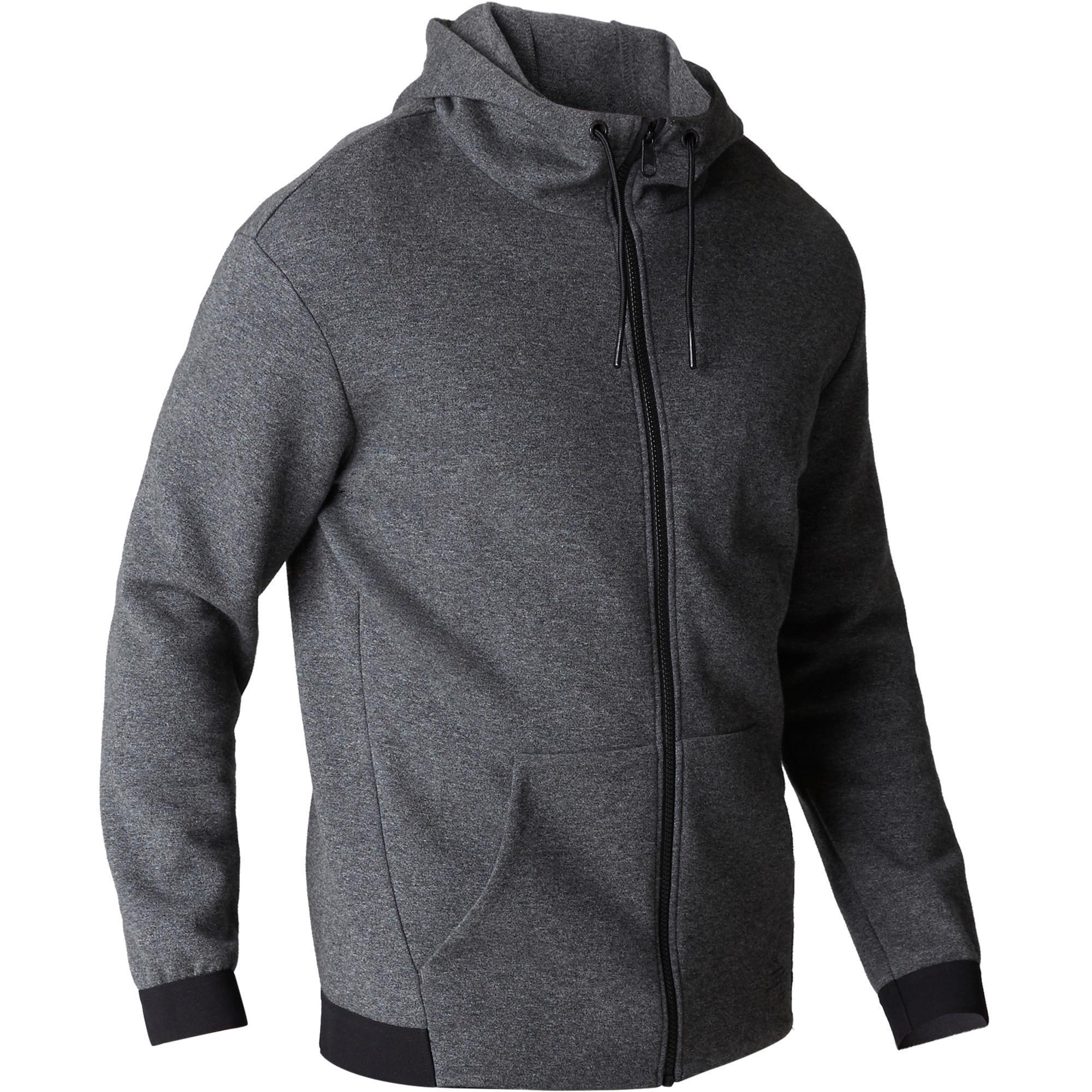 65b6ab6e6b55 560 Hooded Gentle Gym & Pilates Jacket - Mottled Dark Grey - Decathlon