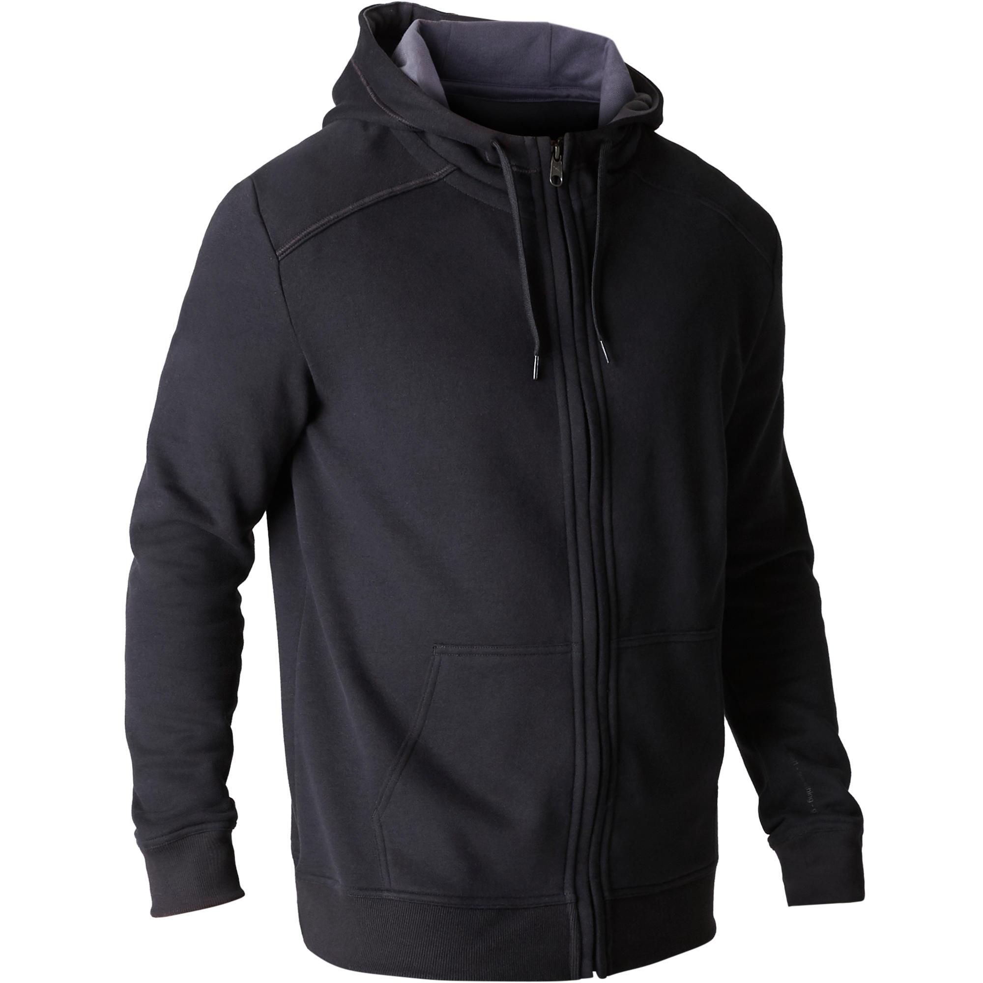 Veste 900 capuche gymnastique d'étirement noir homme
