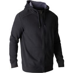 Veste 900 capuche Gym Stretching noir homme