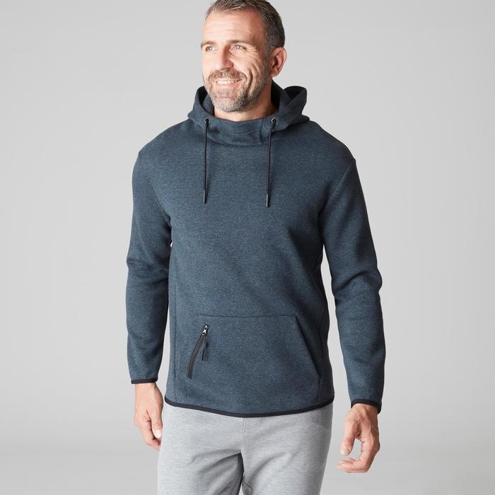 Sudadera 560 capucha Gimnasia Stretching hombre gris azul