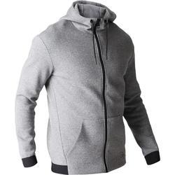 Veste 560 capuche Gym Stretching homme gris chiné foncé