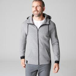 Veste 560 capuche Pilates Gym douce homme gris chiné clair