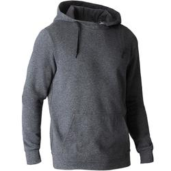 Sweat 900 capuche Gym Stretching homme gris foncé