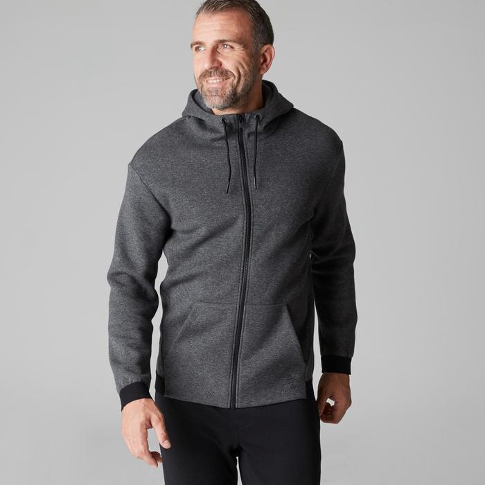 Chaqueta 560 capucha Pilates y Gimnasia suave hombre gris oscuro jaspeado