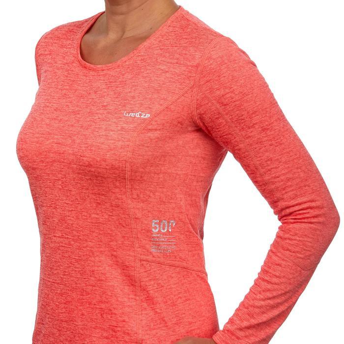 Thermisch skiondershirt voor dames 500 koraalrood