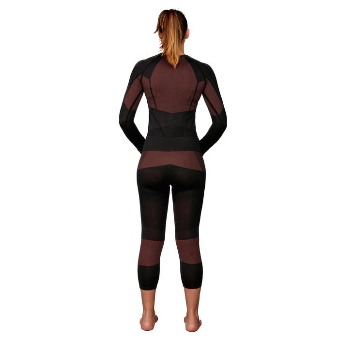 Pantalón de esquí mujer 900 negro rosa