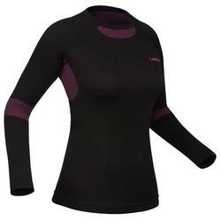 女款滑雪底層上衣i-Soft - 黑色