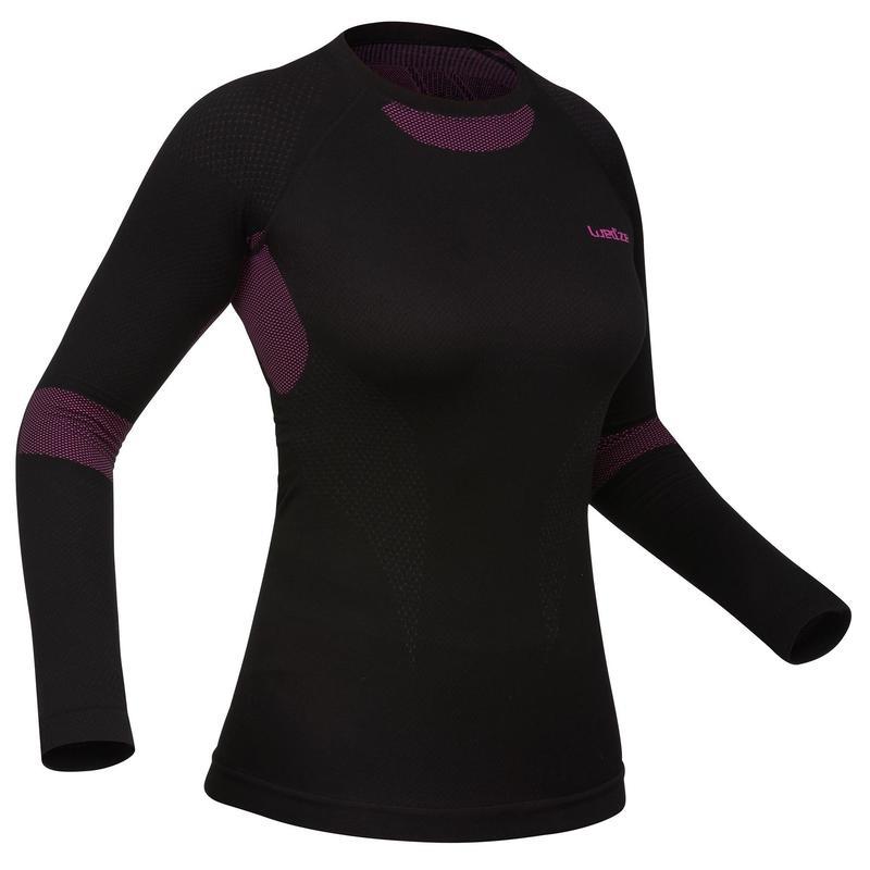 Women's Ski Base Layer Top - Black / Pink