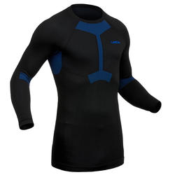 MEN'S SKI BASE LAYER TOP 580 I-SOFT - BLACK/BLUE