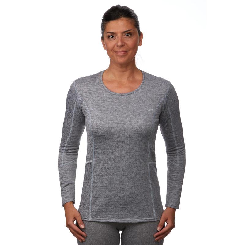 Women's base layer ski top 500 - Grey