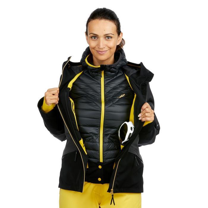 女款下坡滑雪外套980 - 黑色與灰色