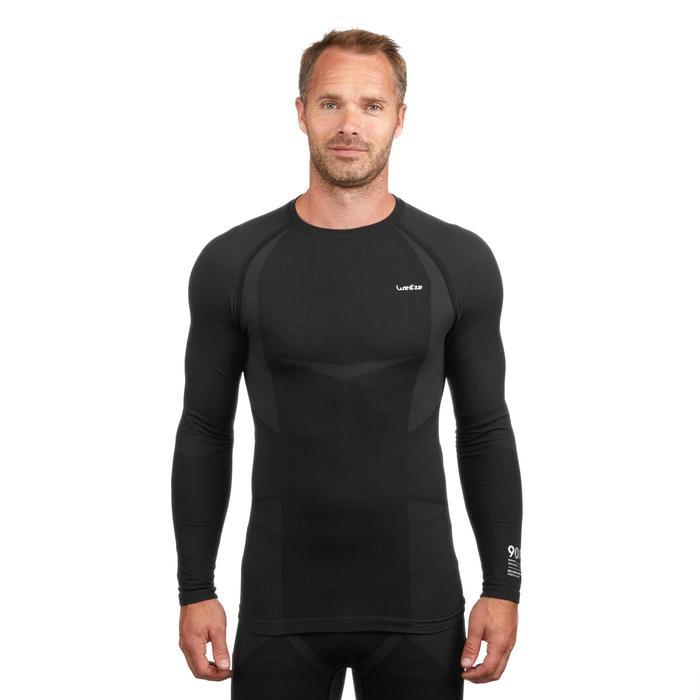 Skiondershirt voor heren 900 zwart grijs