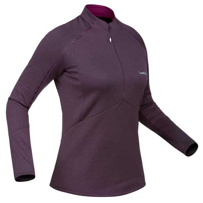 Camiseta de esquí mujer MD 500 ciruela