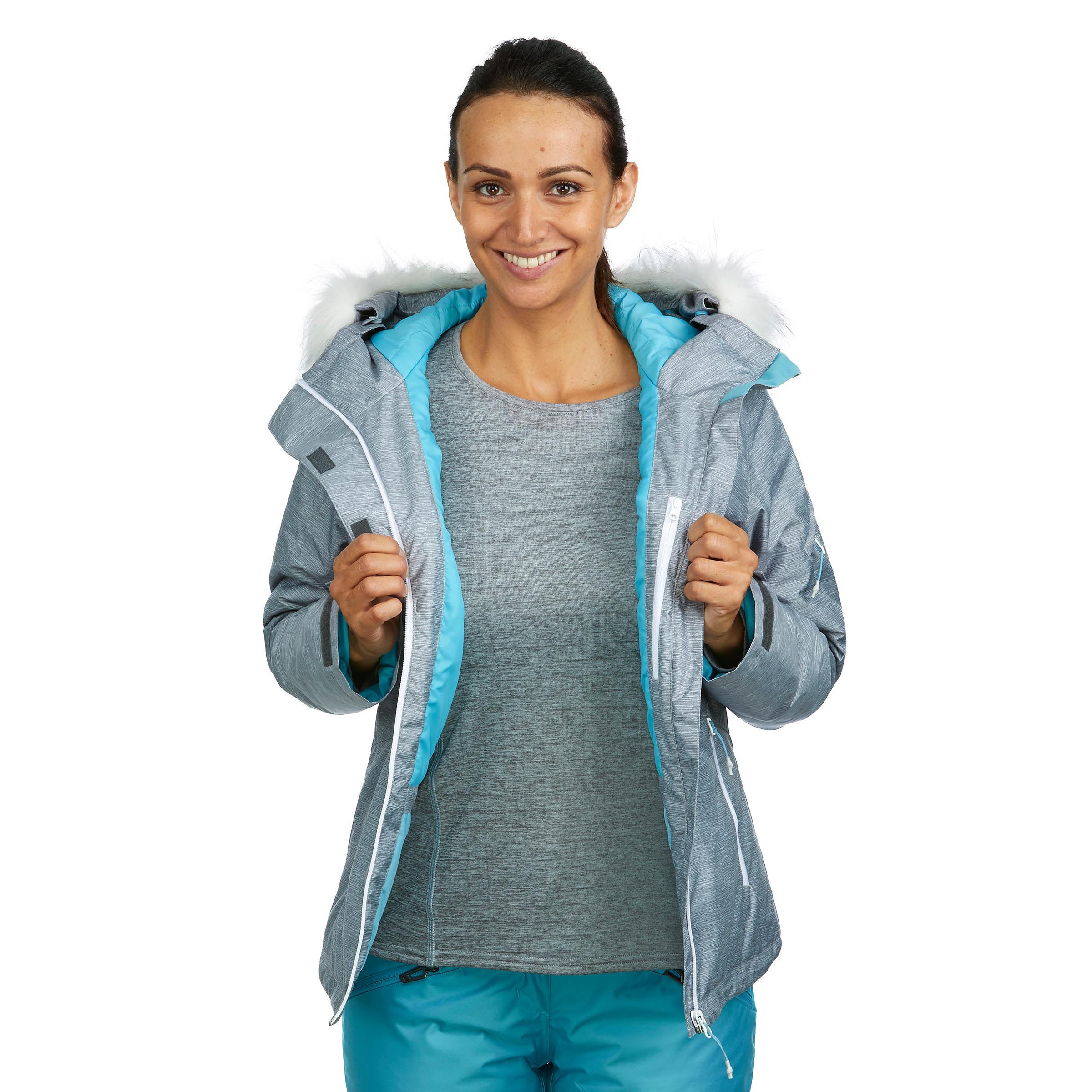เสื้อแจ็คเก็ตผู้หญิงสำหรับใส่เล่นสกีลงเขารุ่น Ski-P 150 (สีเทา)