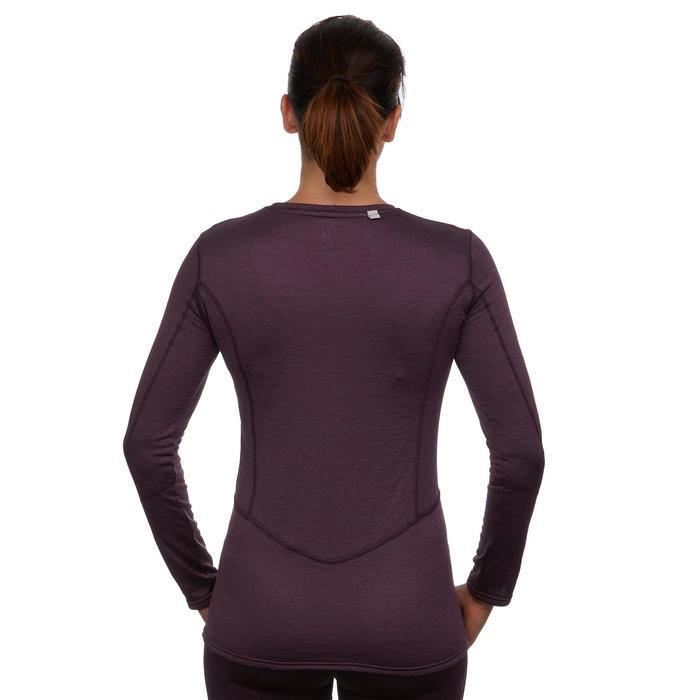 Camiseta de esquí mujer 500 ciruela