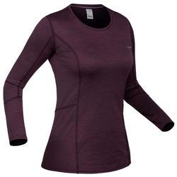 Camiseta térmica Esquí y Nieve Interior Wedze 500 Mujer Ciruela
