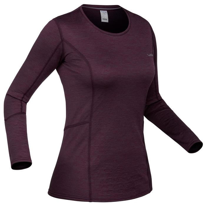 Thermoshirt dames ski 500 pruim