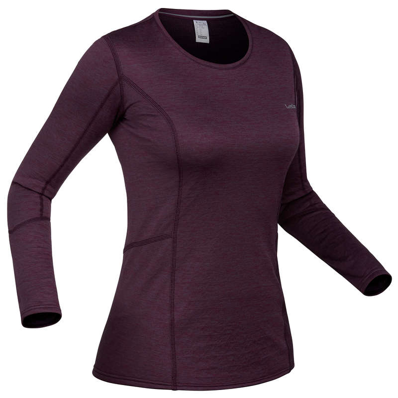 WOMEN SKI BASELAYER & PULL Skiing - W Base layer top 500 - Plum WEDZE - Ski Wear