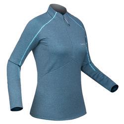 Dames thermoshirt voor skiën MD 500 blauw