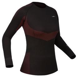 Thermisch ondershirt 900 voor skiën dames zwart roze